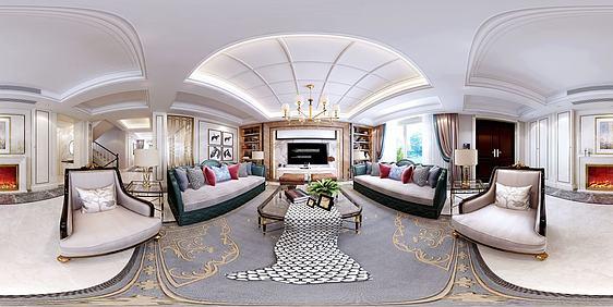 3d新中式轻奢客餐厅全景模型