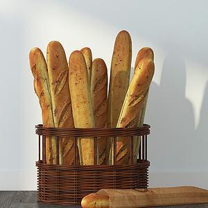 法式面包3d模型