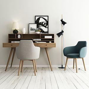 北歐書桌椅3d模型