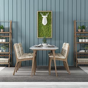 北歐簡約餐桌椅3d模型