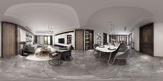 新中式轻奢客餐厅全景3d模型