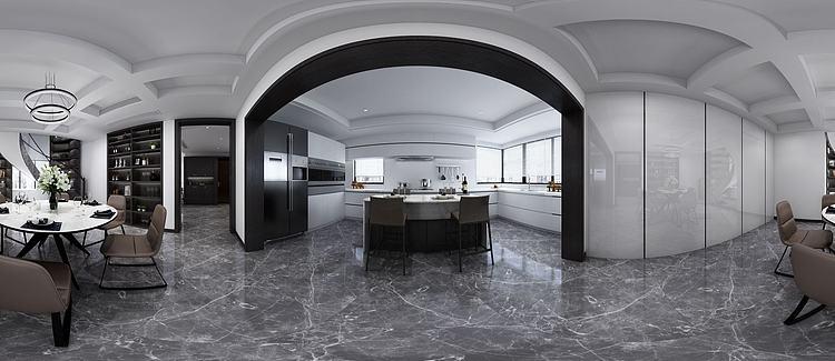 现代简约厨房餐厅全景模型