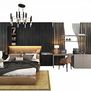 卧室大床书桌模型