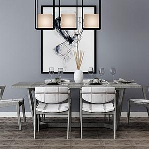 简约餐厅桌椅组合模型