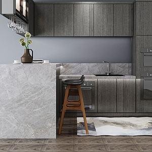 现代简约开放式厨房吧台模型