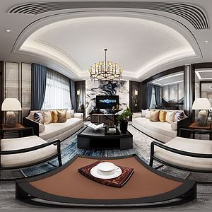 新中式轻奢客餐厅模型