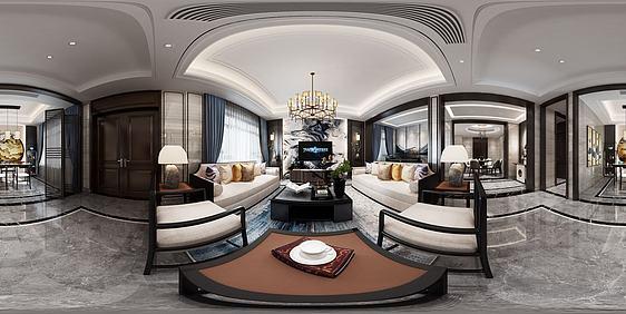 3d新中式轻奢客餐厅模型