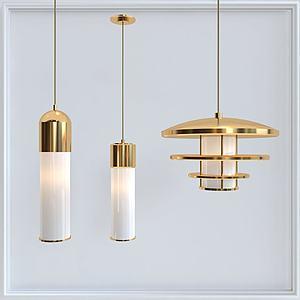 3d金屬質感吊燈模型