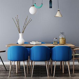 现代简约餐厅餐桌模型