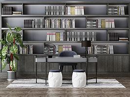 现在书房书架书桌模型模型