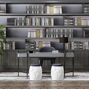 现在书房书架书桌模型