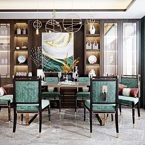 新中式轻奢餐桌椅组合模型