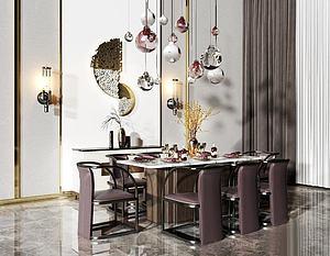 新中式轻奢餐桌椅组合模型3d模型
