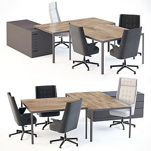 3d現代<font class='myIsRed'>辦公桌</font>椅組合模型
