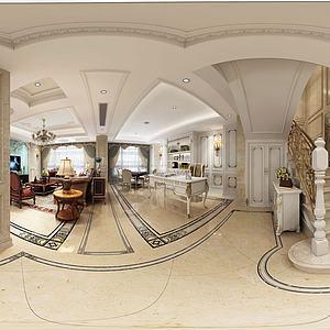 欧式奢华客餐厅全景模型