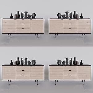 现代实木边柜模型3d模型