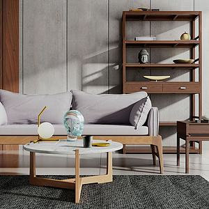 3d現代新中式沙發茶幾組合模型