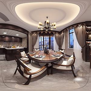 中式轻奢餐厅模型