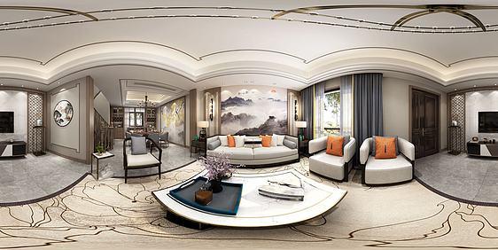 3d新中式客餐厅模型