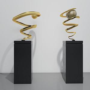 现代雕塑饰品3d模型