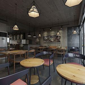 工業風奶茶店小吃店模型3d模型