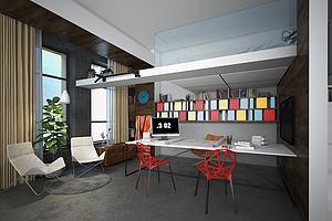 办公室休息室模型模型