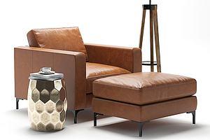 现代皮艺单人沙发