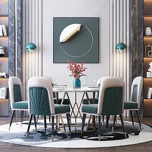3d現代輕奢餐桌椅組合模型