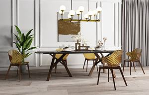 现代轻奢金属餐桌椅模型3d模型