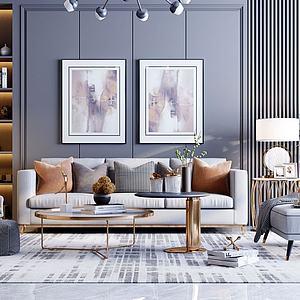 现代轻奢沙发摆件组合模型3d模型