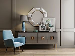 3d現代輕奢單椅邊柜擺件模型