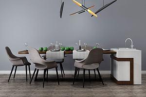现代简约餐桌椅吧台洗手台
