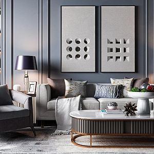 现代轻奢沙发茶几组合模型3d模型