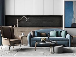 现代轻奢沙发茶几组合