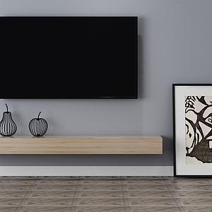 电视柜电视背景墙装饰模型