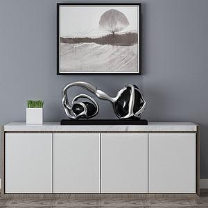 现代简约书柜边柜装饰柜模型3d模型