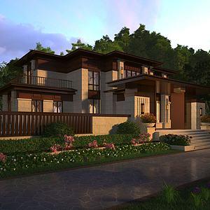 新中式獨棟別墅豪宅模型3d模型