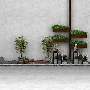 盆景假山鵝卵石花園園藝模型3d模型