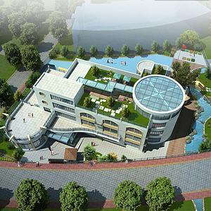 办公楼学校鸟瞰模型3d模型