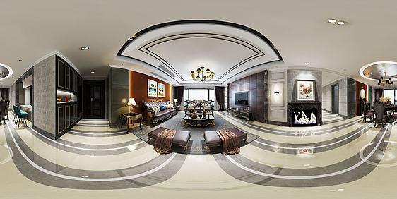 3d現代輕奢客餐廳全景模型