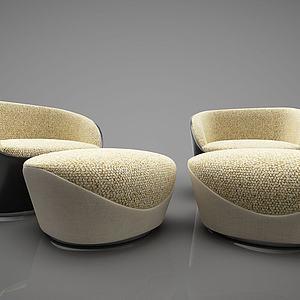 现代单人沙发凳组合模型3d模型