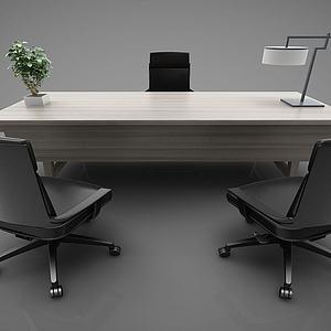现代简约办公桌桌椅组合模型3d模型