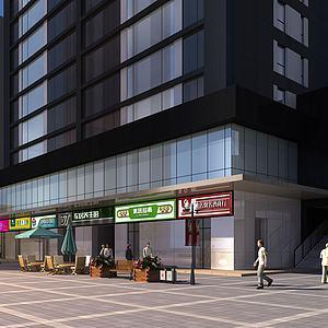 现代商业街商店模型3d模型