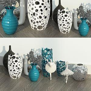 桌面摆件镂空花瓶舞者摆件模型