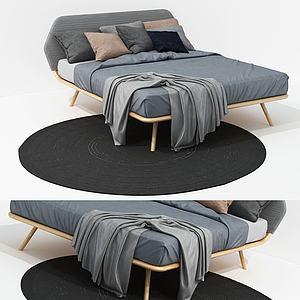 北歐實木棉麻布藝雙人床模型3d模型