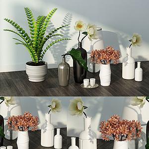 现代桌面摆件绿植花儿组合模型