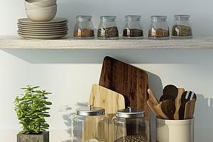 现代家庭厨房用品组合模型模型