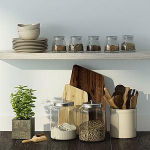 现代家庭厨房用品组合模型