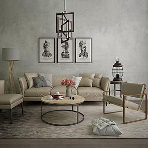 北歐裝飾沙發茶幾落地燈模型3d模型