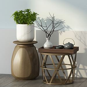 新中式茶幾桌面擺件模型3d模型